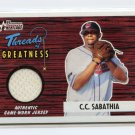 2004 Bowman Heritage CC SABATHIA Threads Of Greatness Jersey Card TG-CS