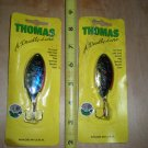 2 Large Thomas Buoyant Spoons,Salmon,Pike,Muskie,Steelhead Lures, Silv/Blue NOS