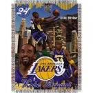 "Kobe Bryant #24 Los Angeles Lakers NBA Woven Tapestry Throw Blanket (48""x60"")"