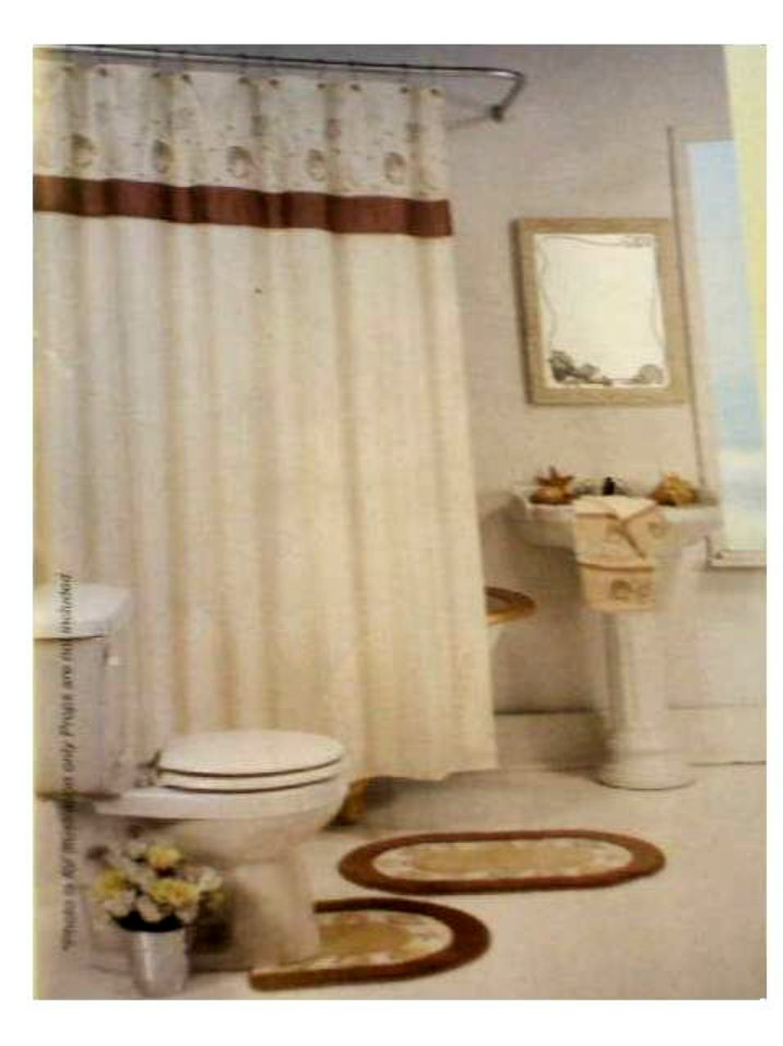 Beach Themed Shower Curtain Embroidered Seashells