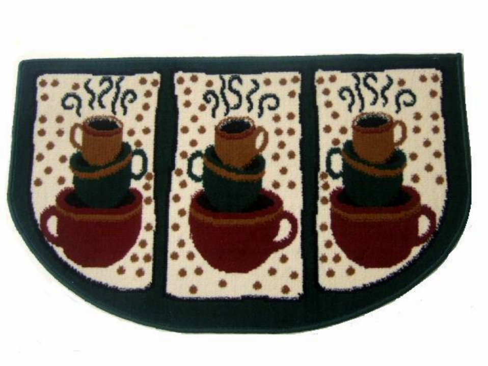 Coffee Themed Kitchen Rug Cups Mat