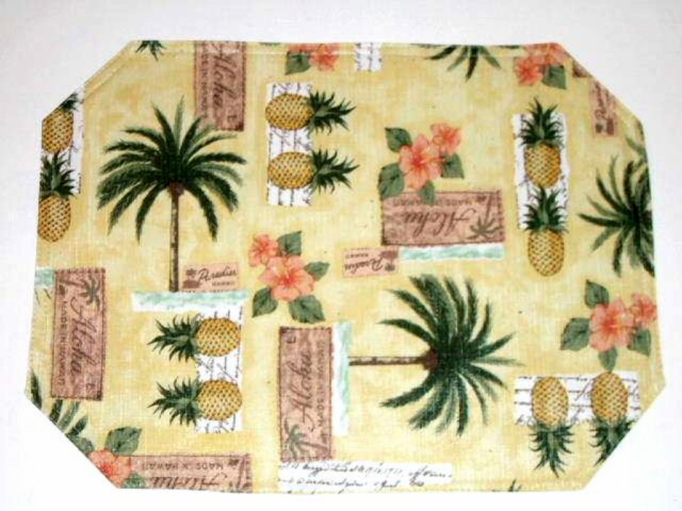 Palm trees pineapples placemats tropical kitchen decor for Tropical themed kitchen