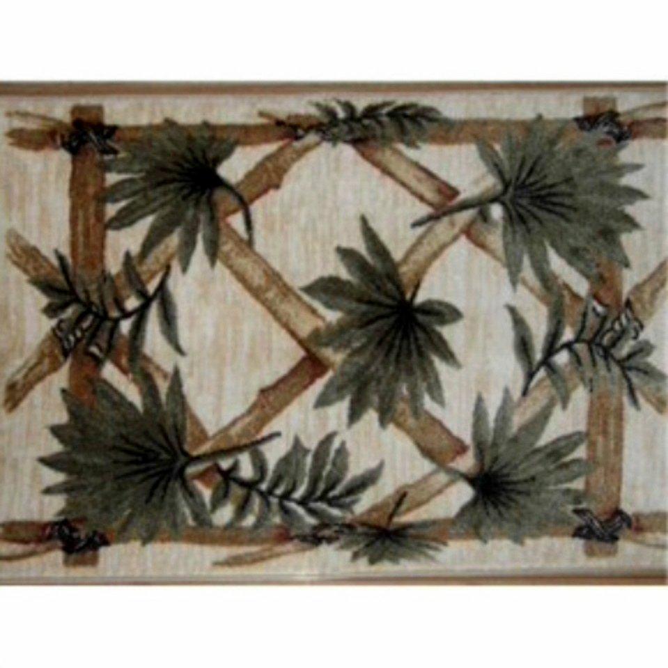 Tropical Bamboo Print Area Rug