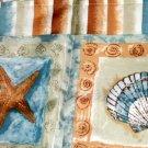 Brighton Seashells and Starfish Shower Curtain Beach Decor