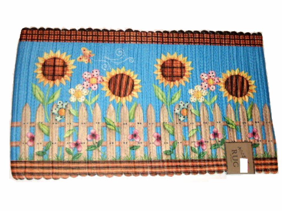 Sunflowers Braided Kitchen Rug