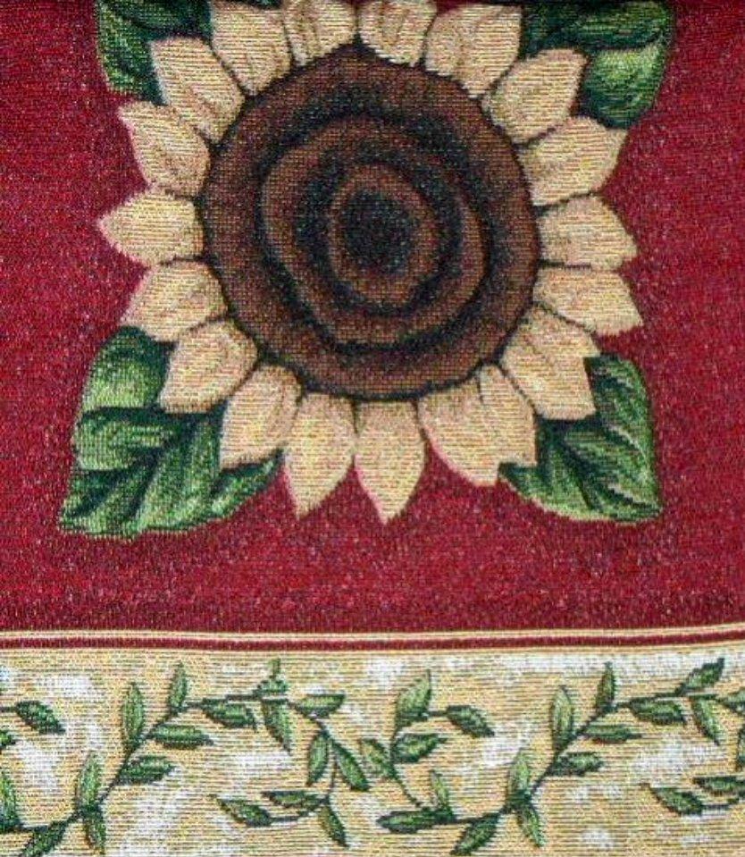 Sunflowers Table Runner Red Gold
