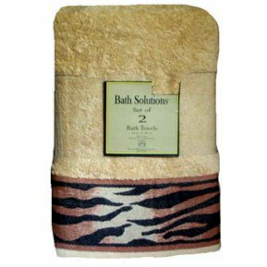 Bath Solutions Bath Towels Set Tiger Stripe Borders