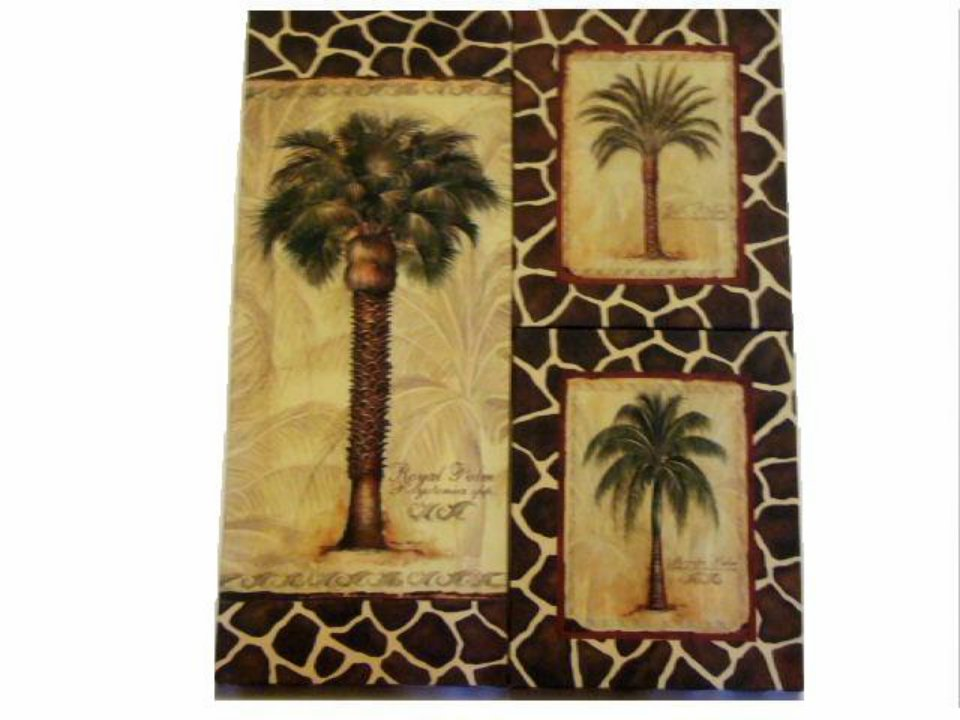 Palm Trees 3 Piece Canvas Wall Art Tropical Decor