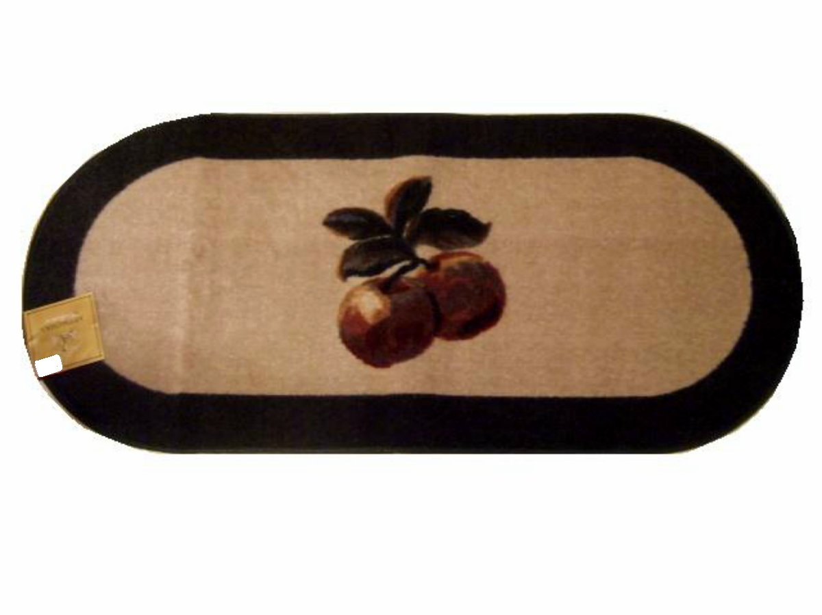 Large Oval Apple Themed Red Apples Kitchen Rug