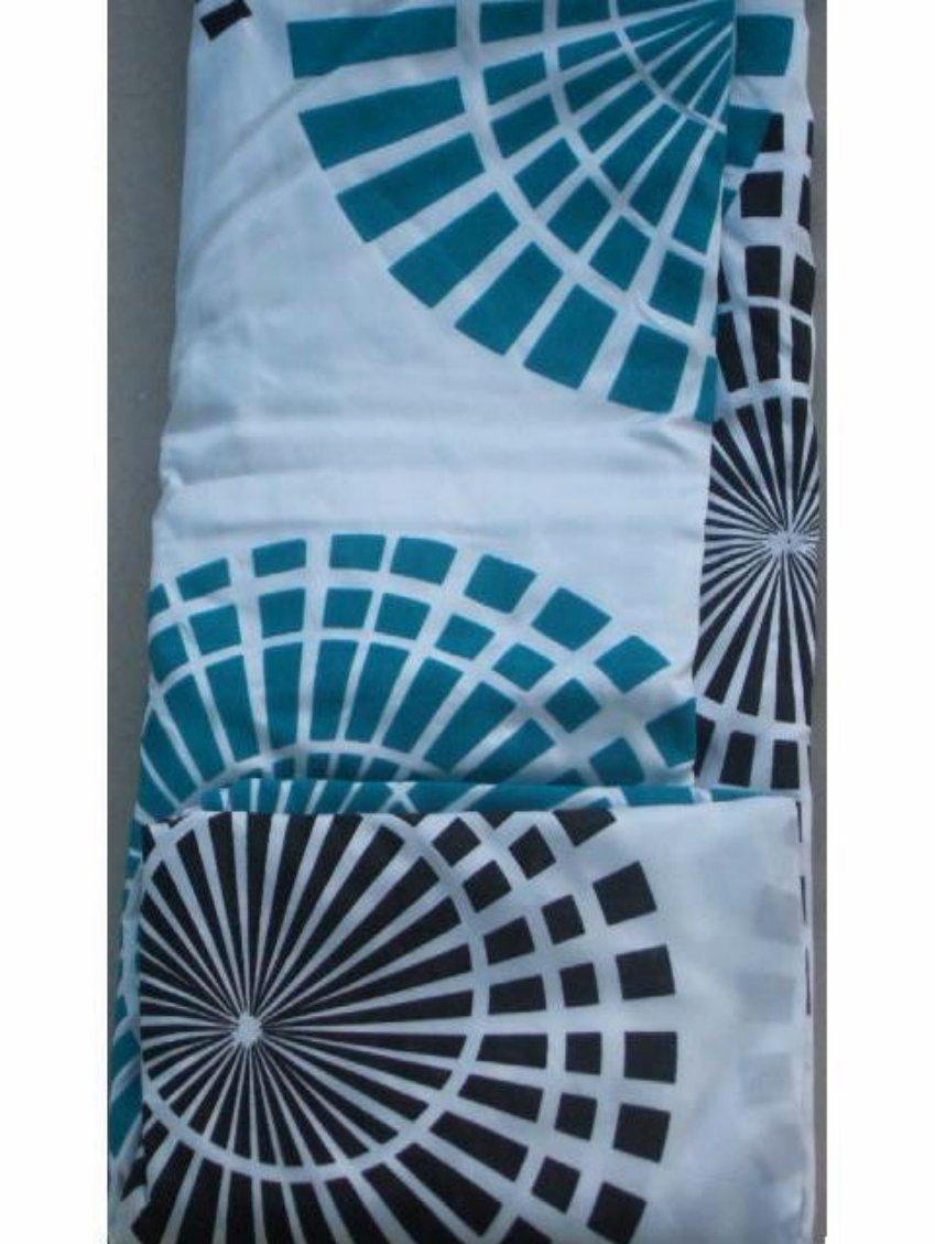 Turquoise Geometric Fabric Shower Curtain