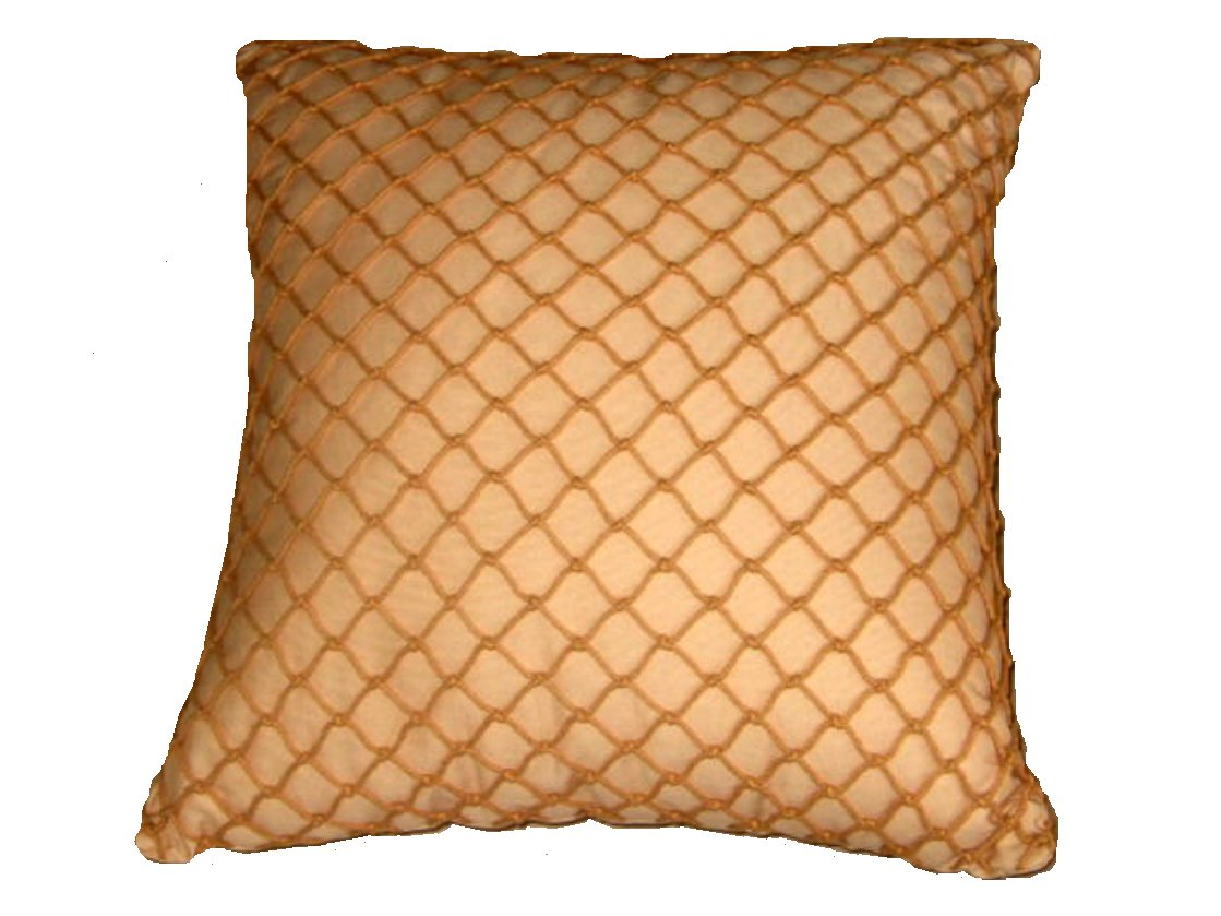 Pale Gold Fishnet Decorative Pillow