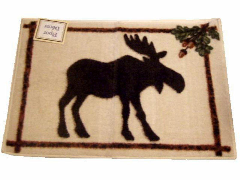 Moose Rug Acorns Lodge Cabin Decor