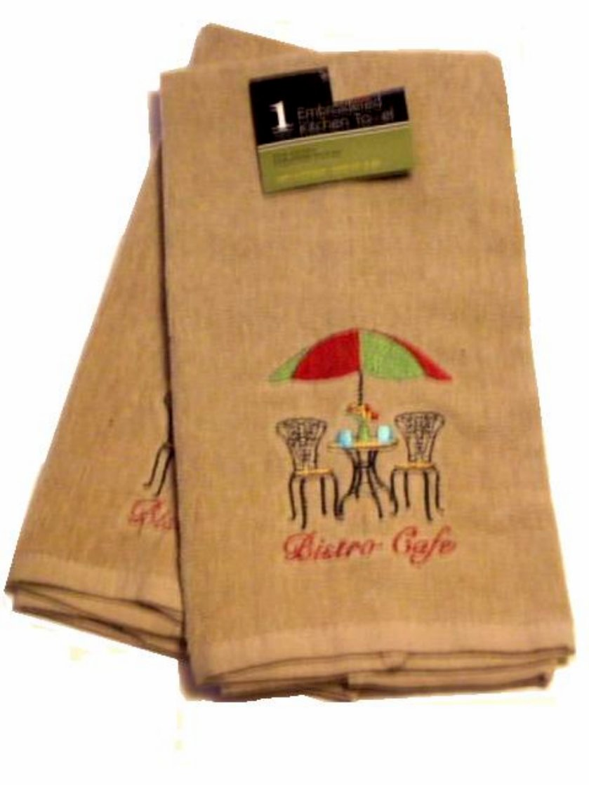 French Bistro Cafe Kitchen Towels Embroidered Set