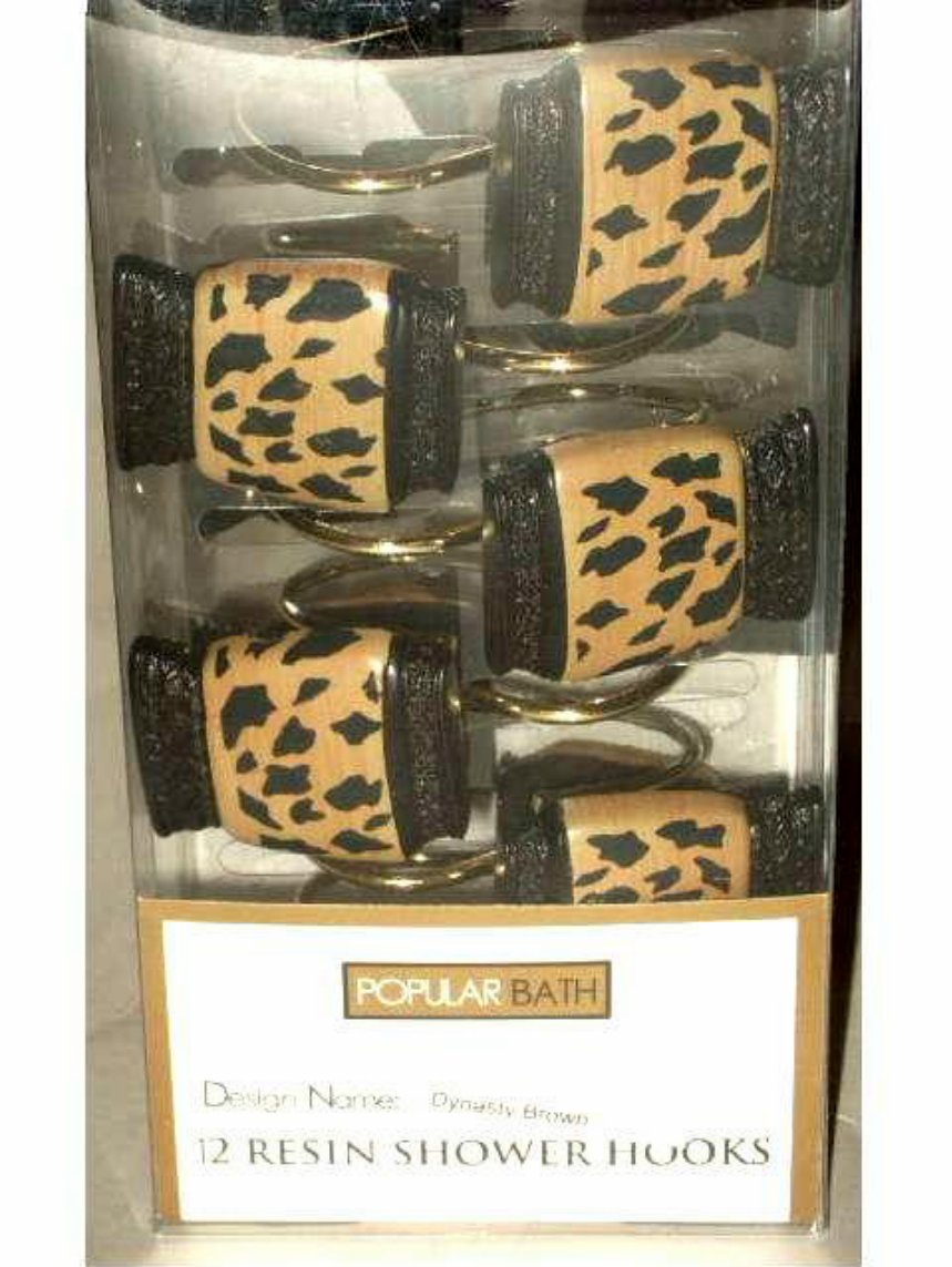 Popular Bath Dynasty Cheetah Print Brown Resin Shower Hooks
