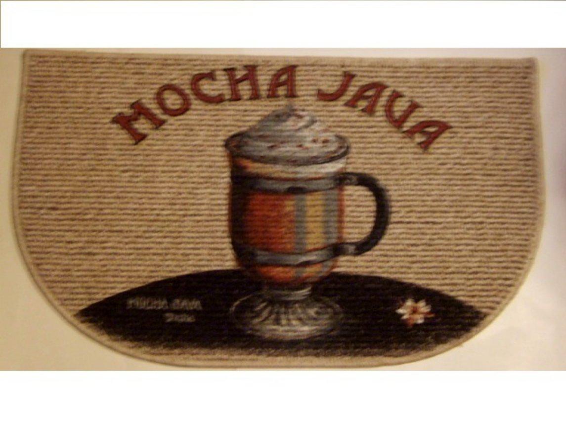 Mocha Java Coffee Themed Kitchen Rug