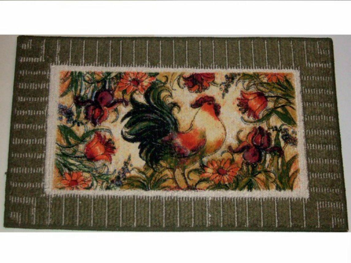 Floral Rooster Kitchen Rug