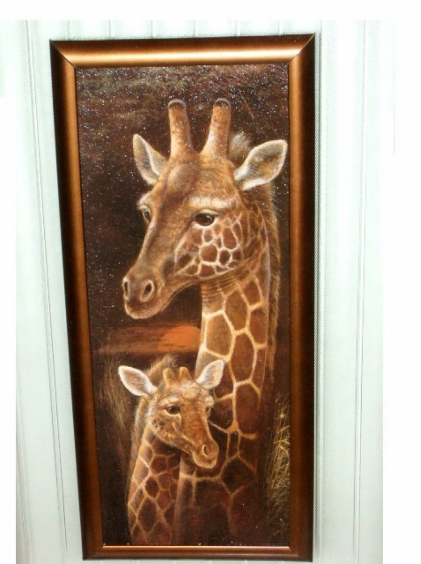African Safari Giraffe Framed Plaque Glass Wall Art