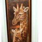 African Safari Giraffe Framed Plaque Glass Wall Art