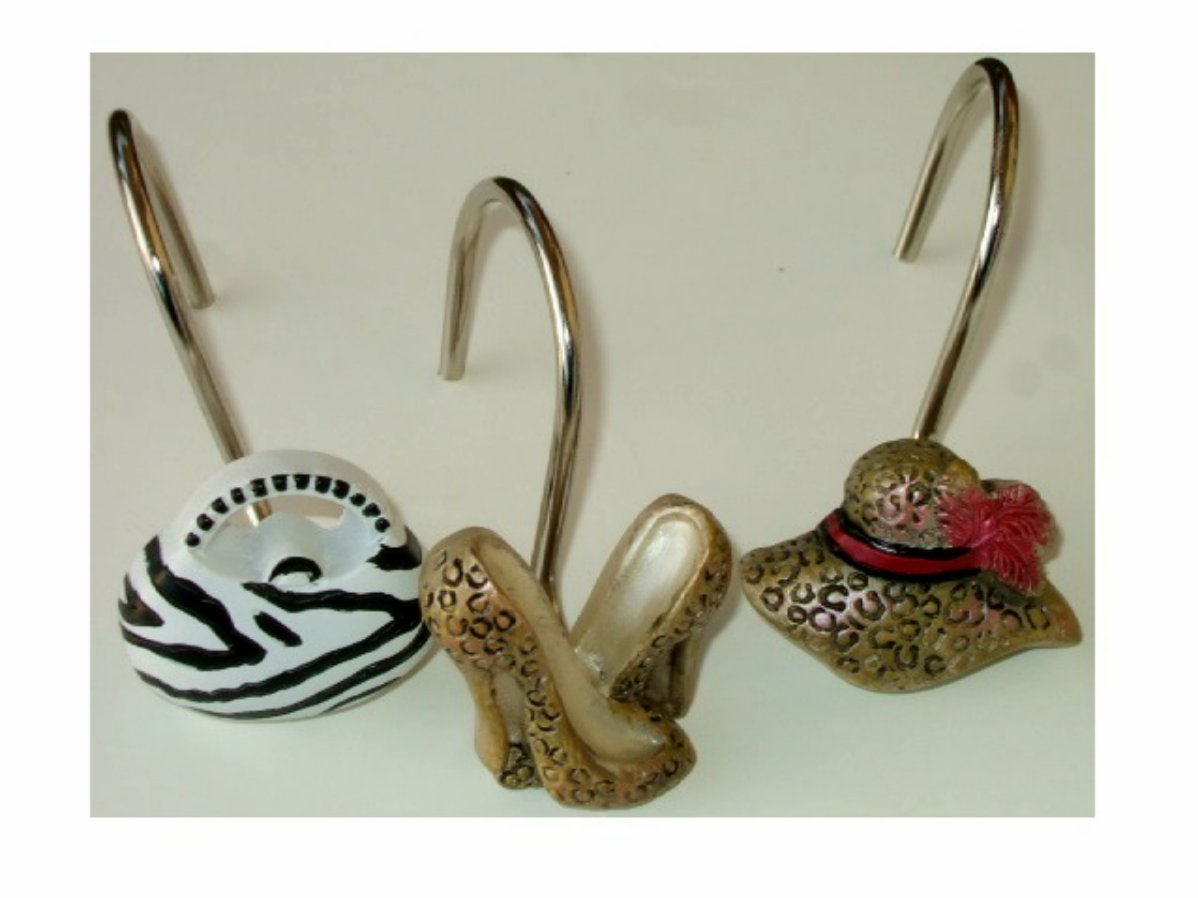 Chic Shoes Purses Hats Shower Curtain Hooks
