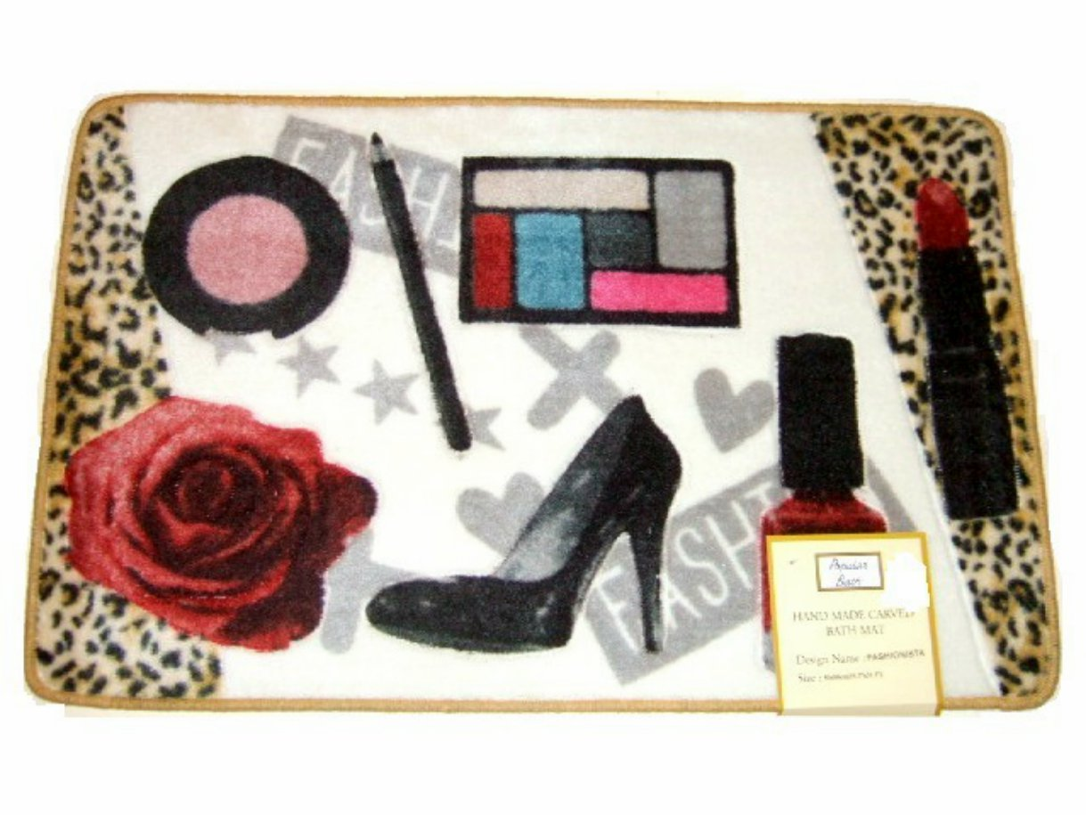 Fashionista Carved Bath Mat Girly Girl Bathroom Rug