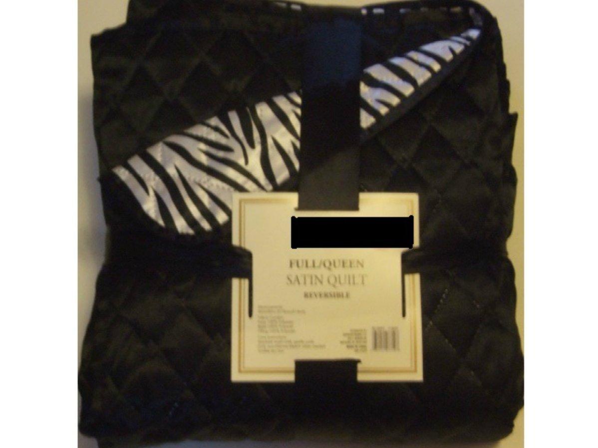 Black Zebra Print Reversible Satin Quilt Full Queen
