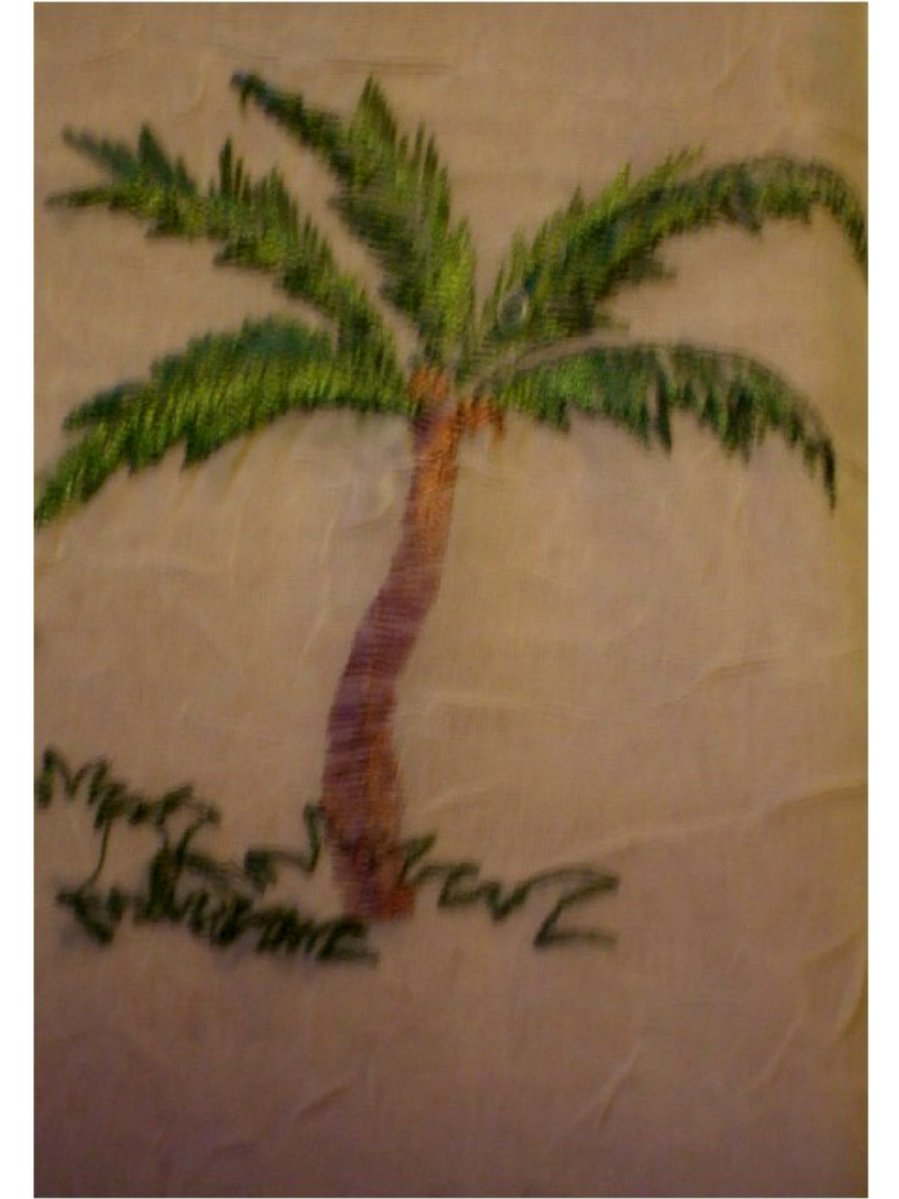 Embroidered Palm Trees Tropical Tablecloth Beige