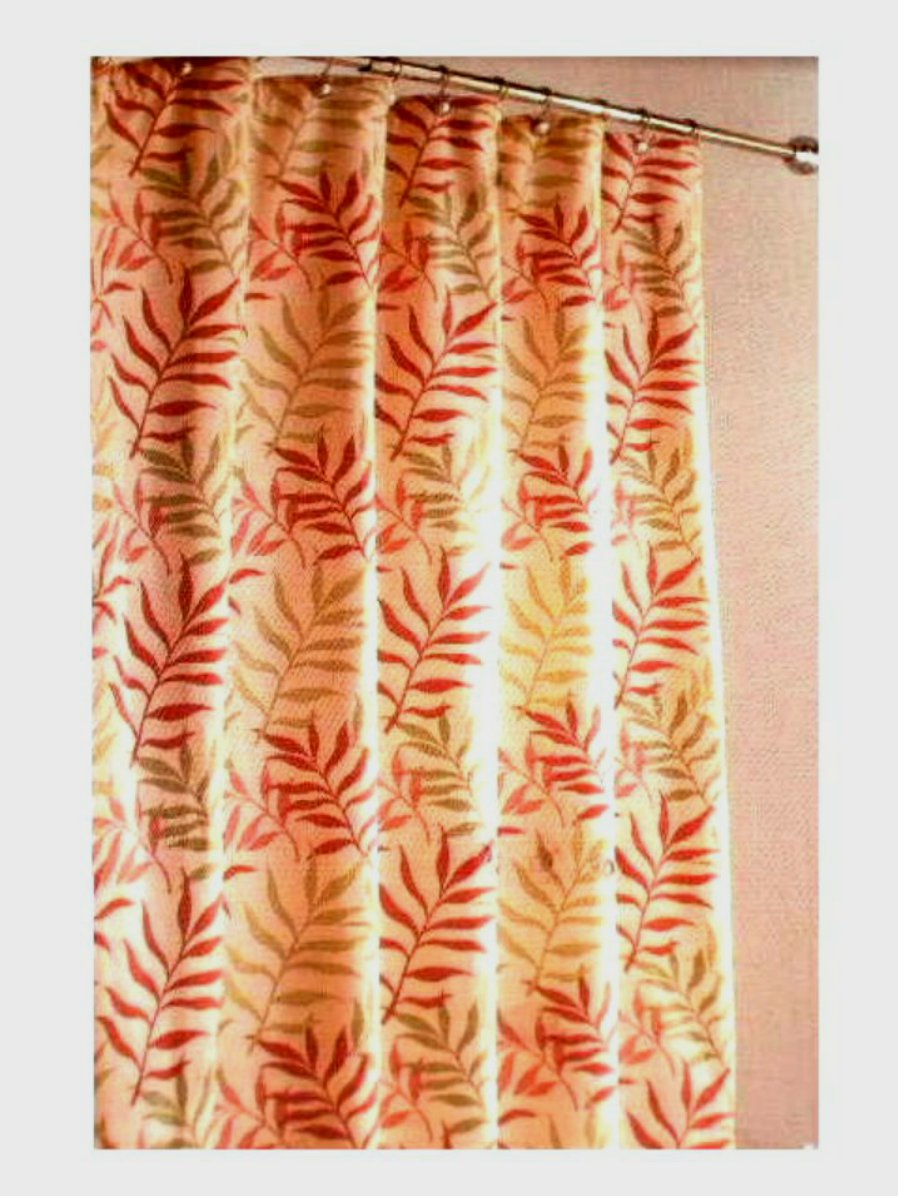 Botanical Leaves Fabric Shower Curtain
