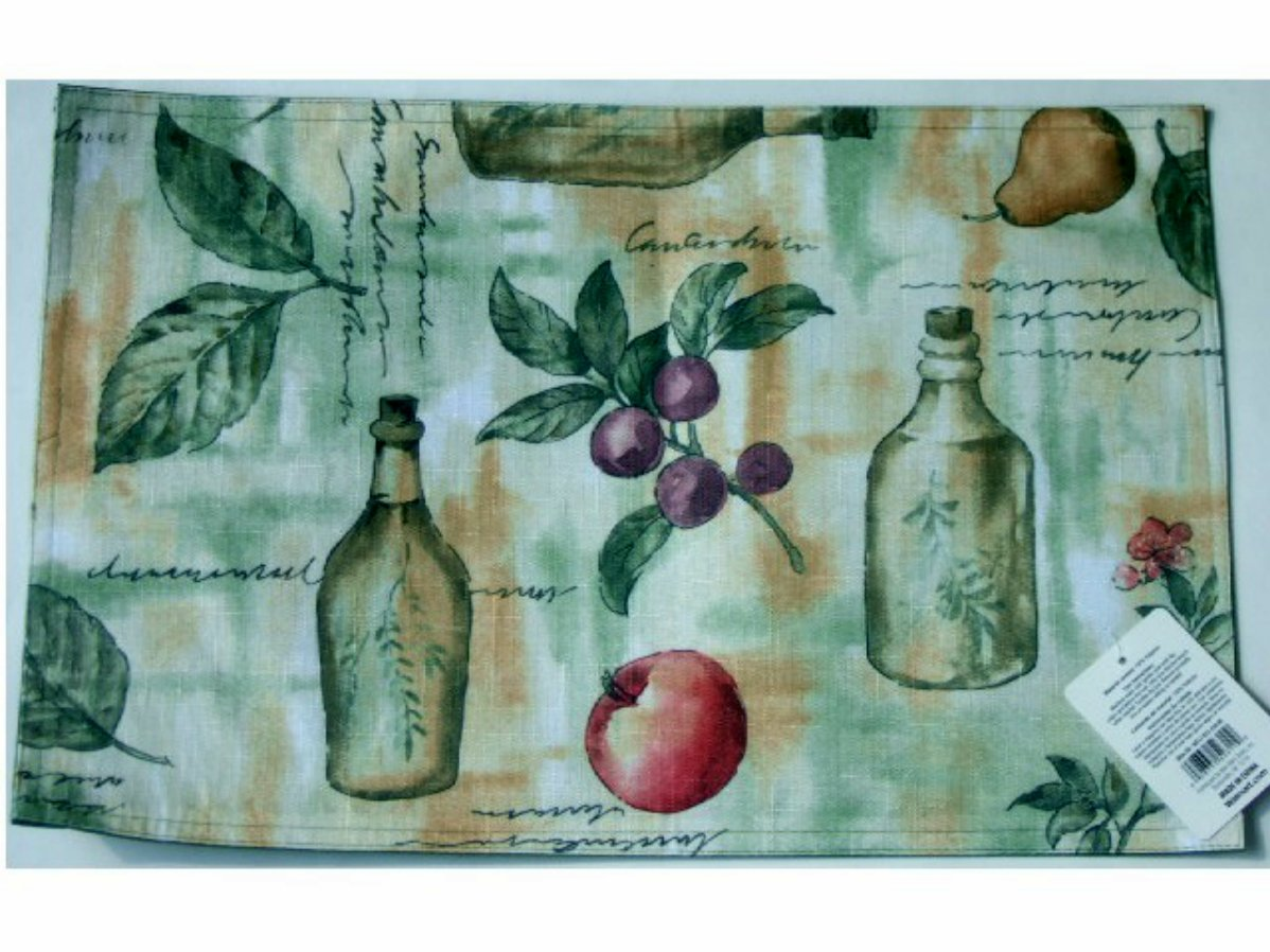 Tuscan Olives Fabric Placemats Set