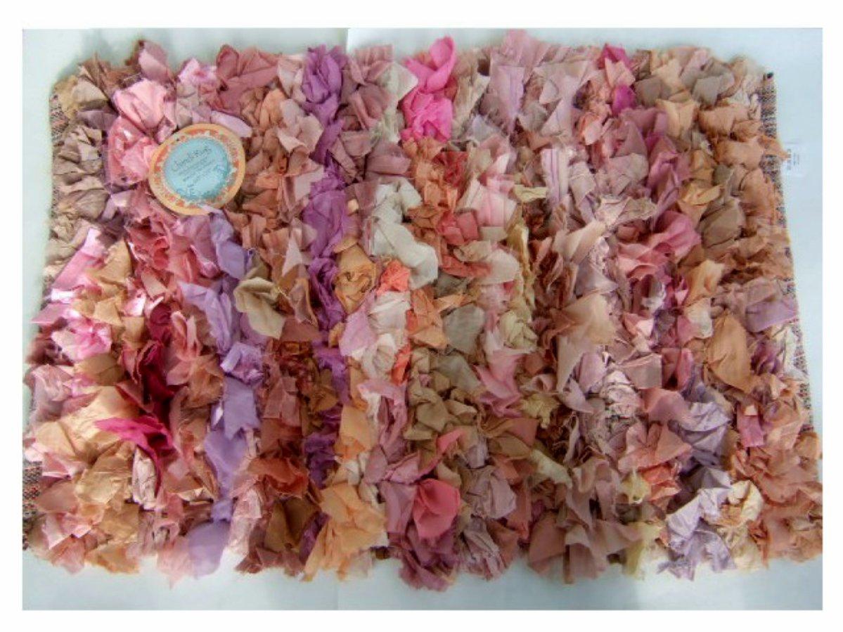 Pink Orange Lavender Chindi Rug Ribbon Mat