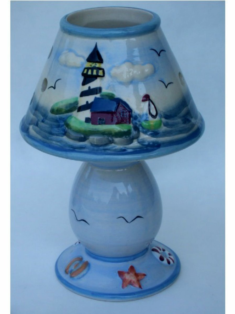 Nautical Lighthouse Candle Holder And Shade Globe