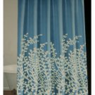 Blue White Branches Fabric Shower Curtain