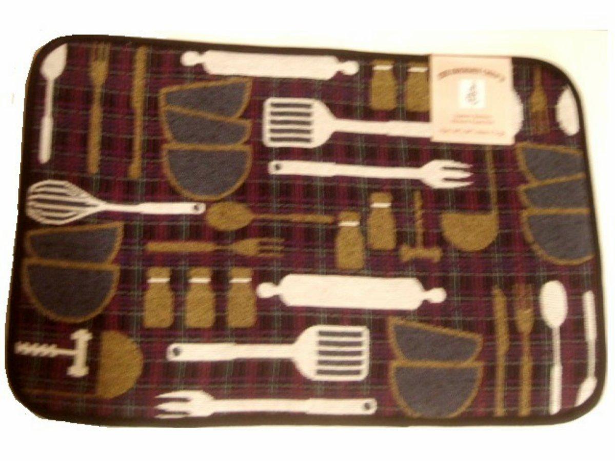 Kitchen Utensils Memory Foam Tapestry Kitchen Comfort Rug