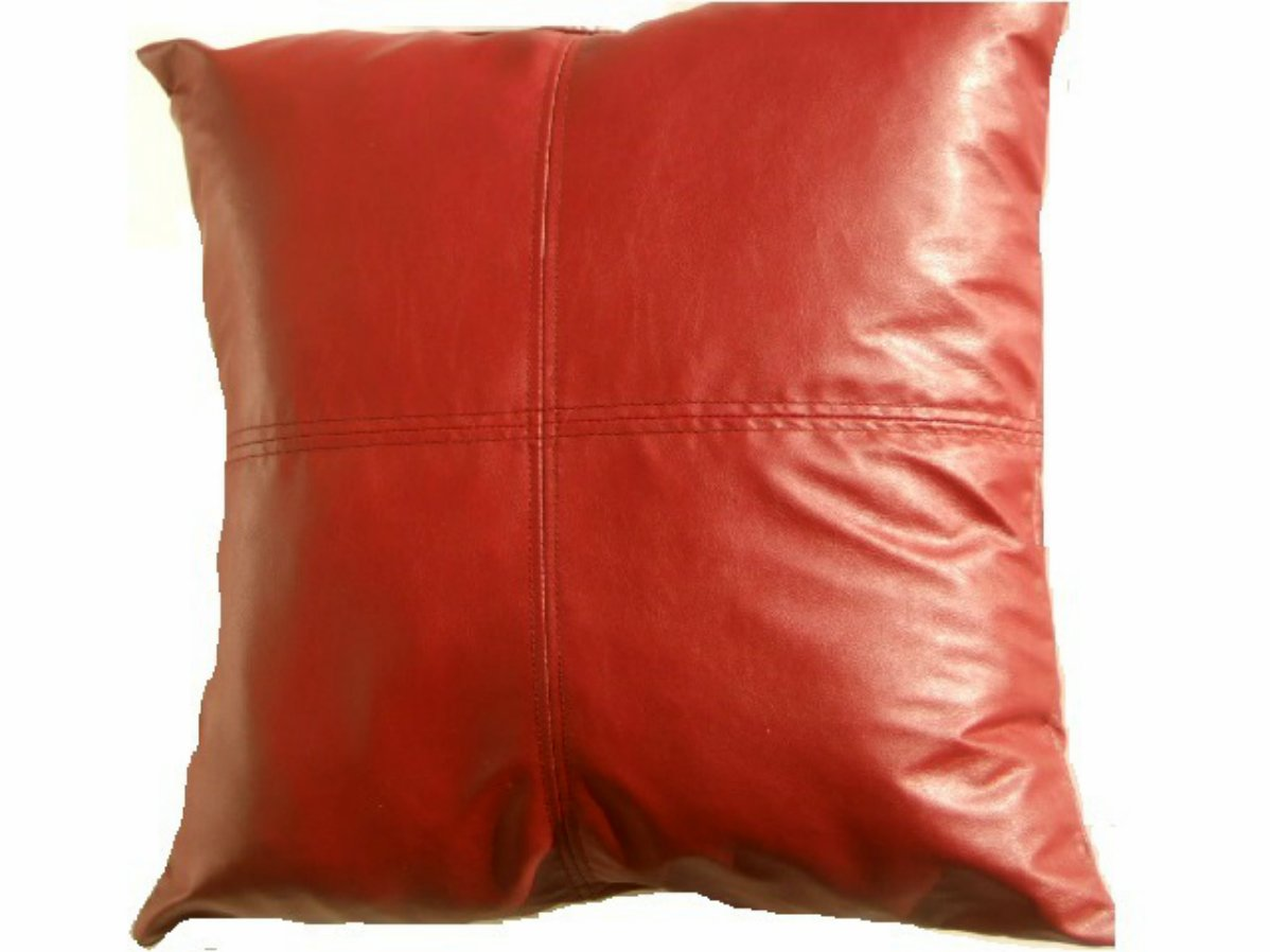 Brick Red Faux Leather Sofa Pillow