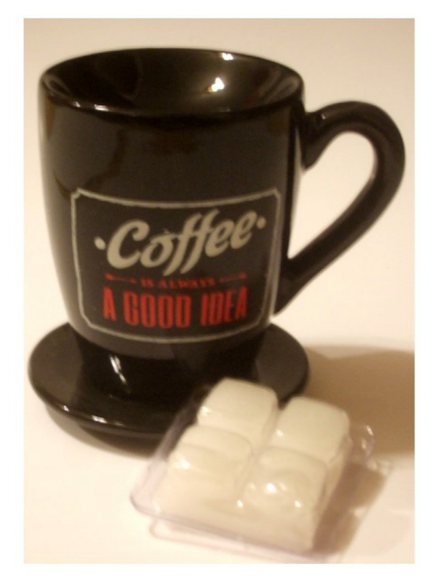 Black Coffee Cup and Saucer Wax Melt Burner