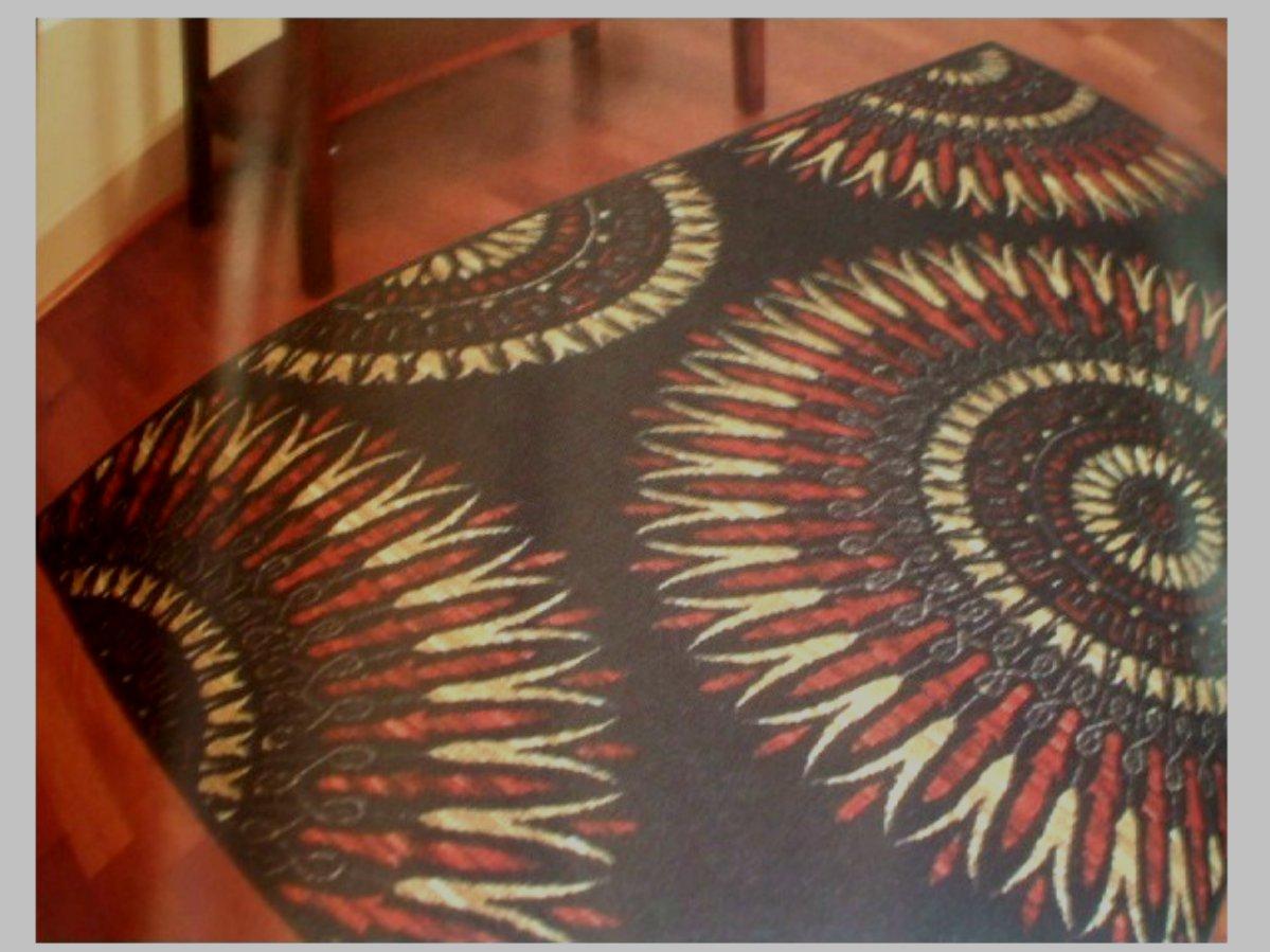 Maya Red Black Geometric Area Rug