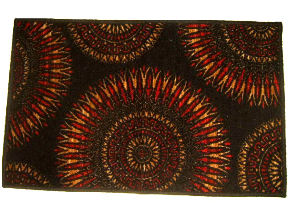 Red Black Maya Sunburst Accent Rug