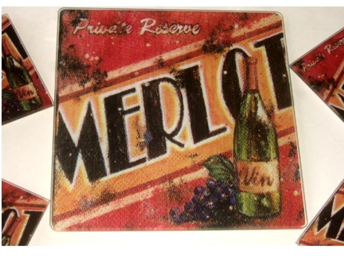 Merlot Wine Trivet Coasters Set with Cheese Knife