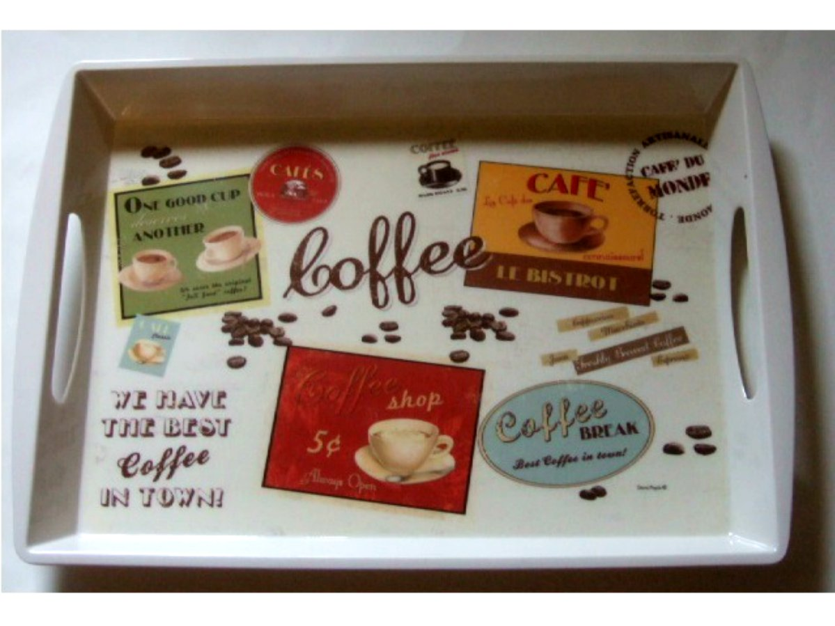 Large Coffee Themed Kitchen Tray Cups of Coffee