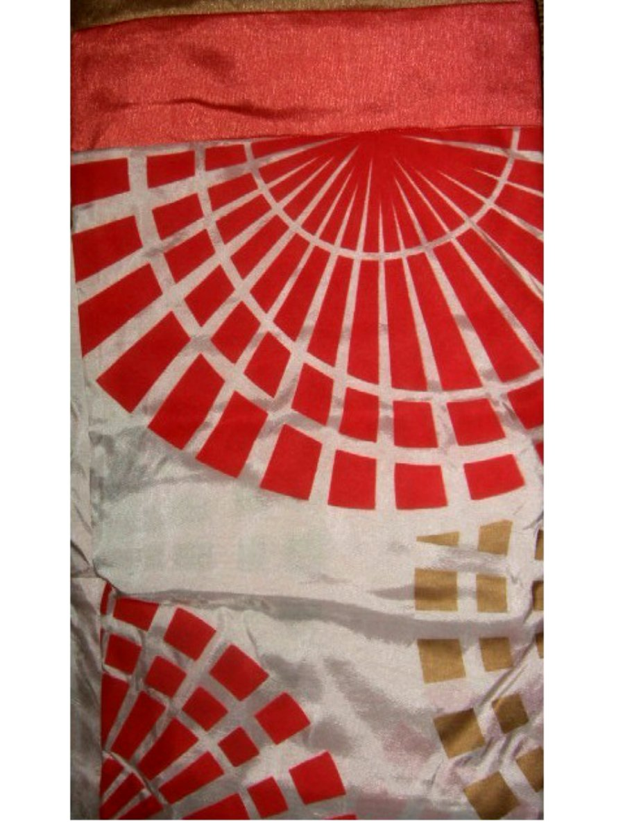 Geometric Circles Coral Fabric Shower Curtain