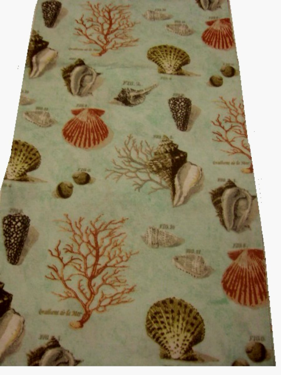 Raymond Waites Coastal Table Runner Seashells and Coral