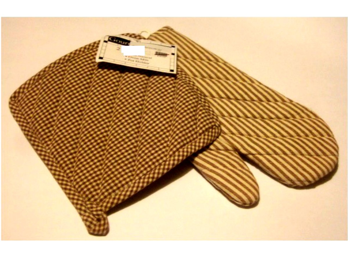Brown Stripes Checks Pot Holder and Oven Mitt Set