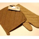 Brown Stripes Checks Pot Holder and Oven Mitt Set
