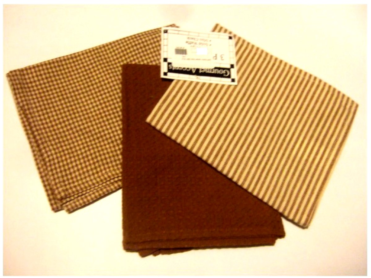 Sienna Brown Checks Stripes Waffle Weave Kitchen Towels Set