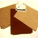Sienna Brown Checks Stripes Waffle Weave Kitchen Towels Set