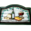 Wine Grapes Cheese Wood Pub Sign