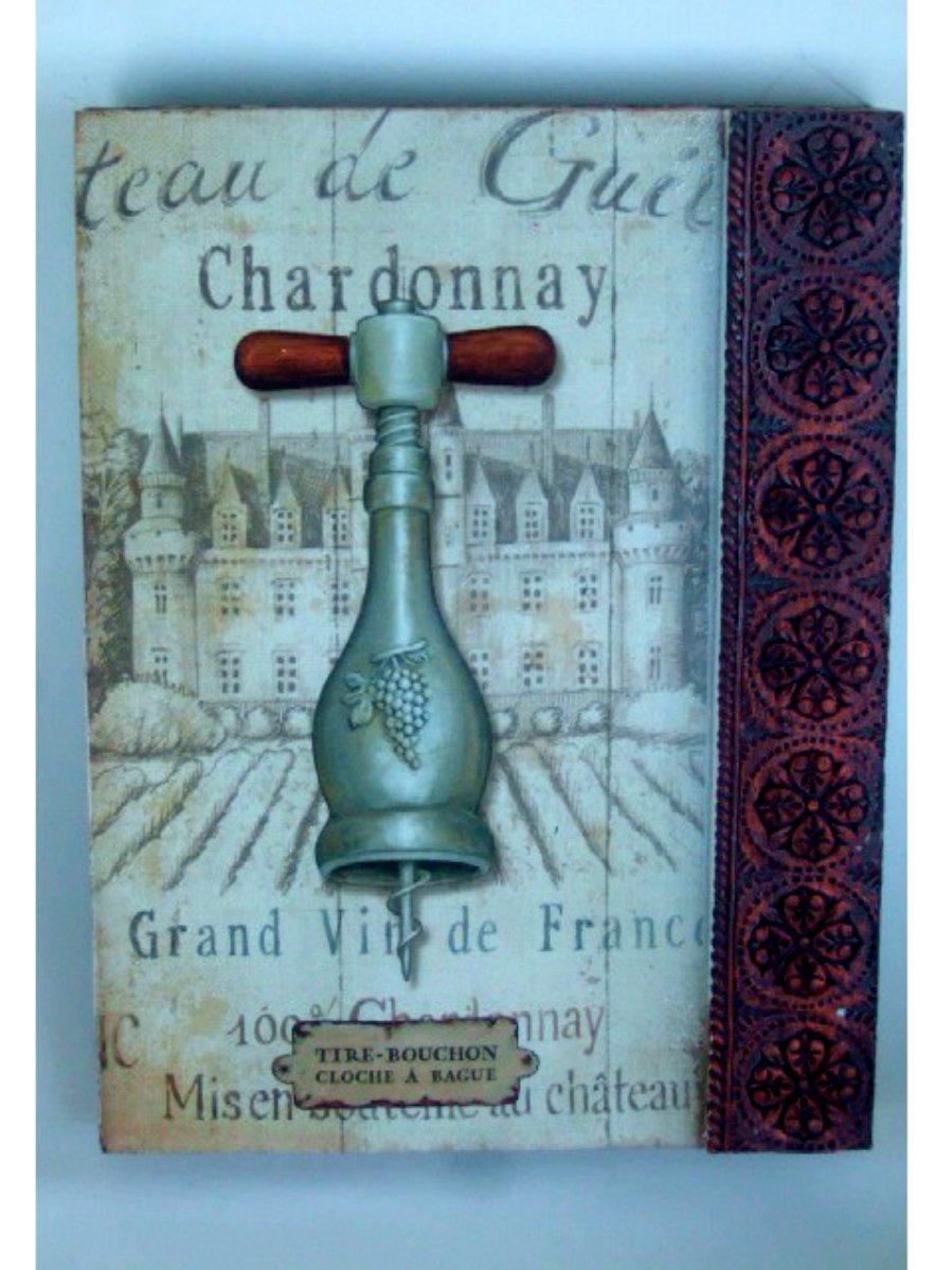 French Chateau Chardonnay Wine Plaque Wall Decor