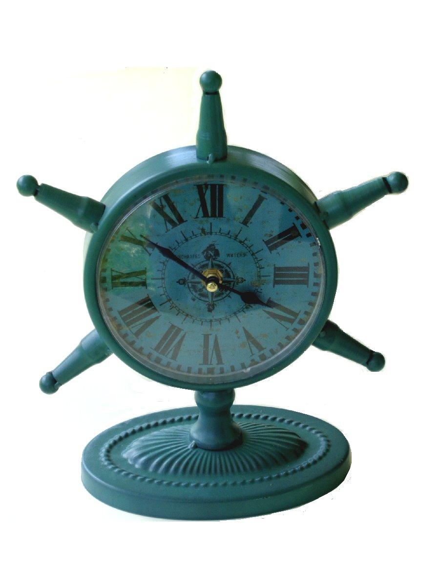 Nautical Ship Wheel Metal Table Clock