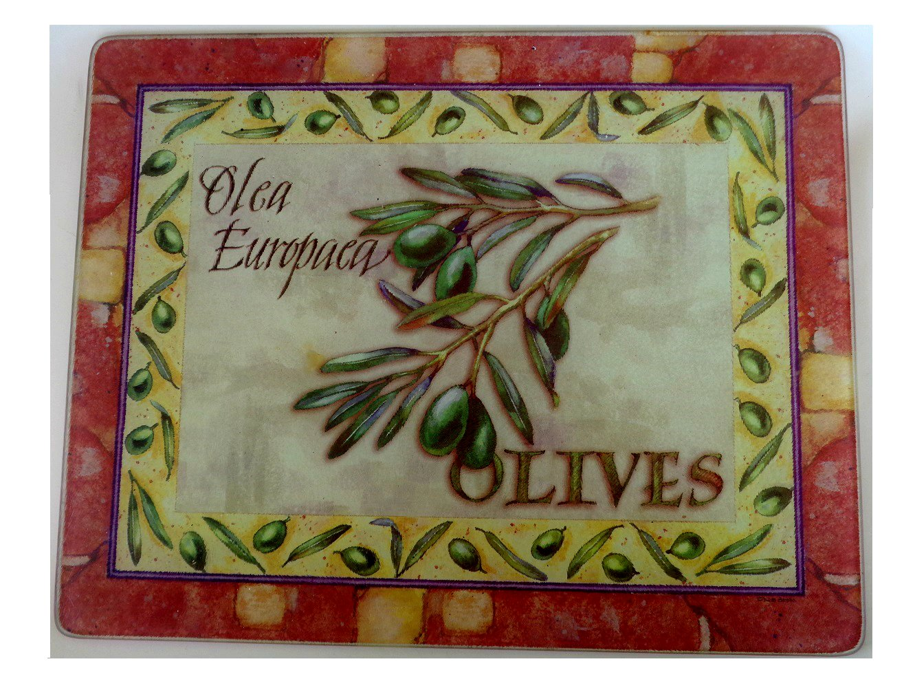 Tuscan Olives Glass Cutting Board