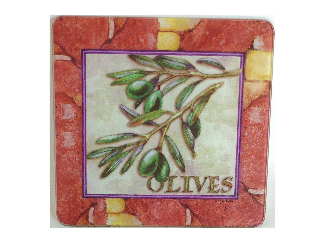Tuscan Olives Glass Trivet Hot Pad