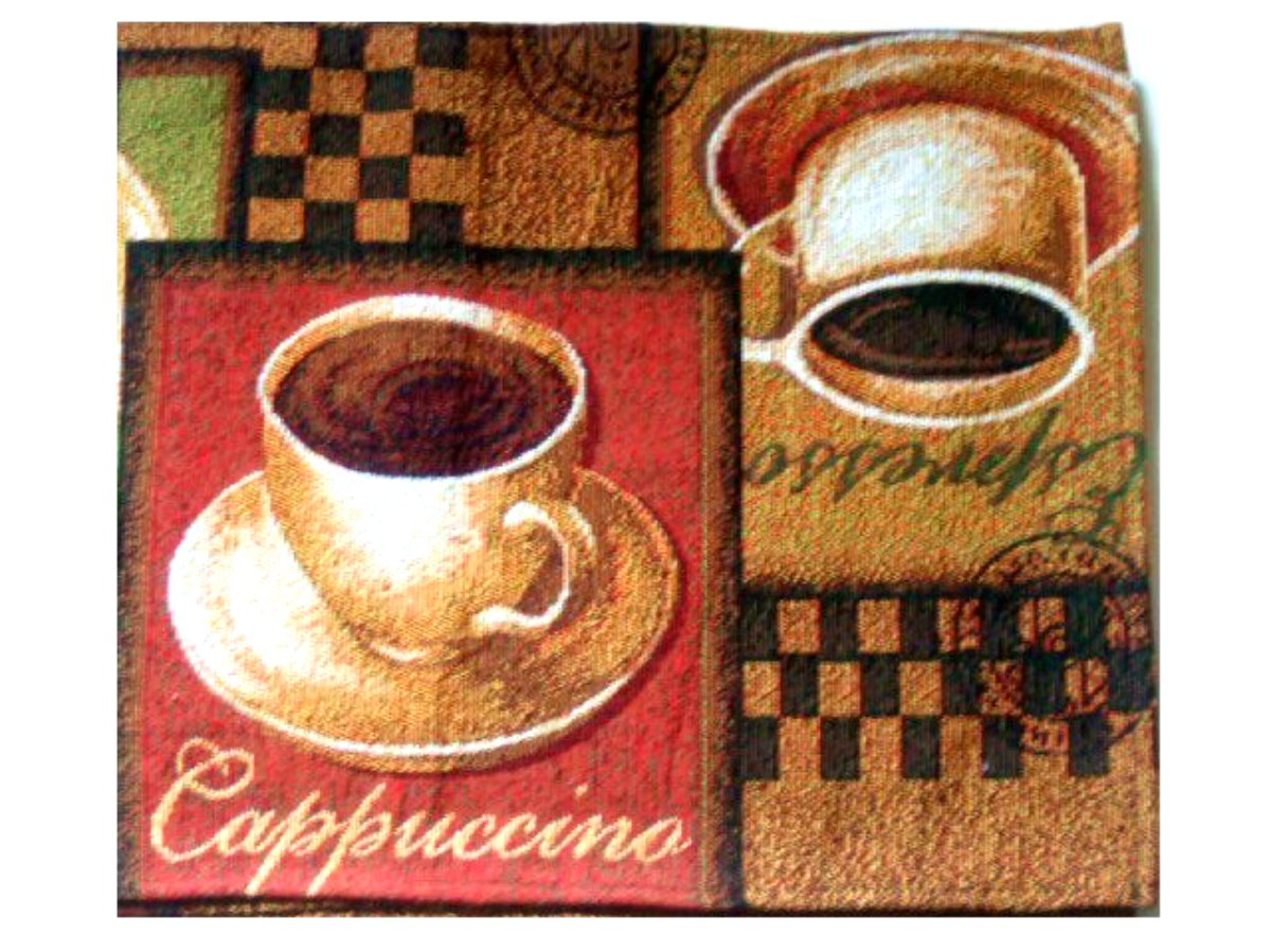 Tapestry Coffee Themed Table Runner Espresso Cuccino Mocha Linen